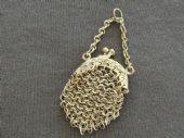 Antique Doll's Purse - Miniature Chain Mail Purse with Finger Ring